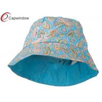 China Blue Girl's Cotton Paisley Print Fisherman Bucket Hat / With Adjustable Tie String wholesale