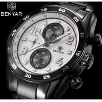 Buy cheap Benyar Men Stainless Steel Strap 6 Hands Quartz Wrist Watch Fahion Waterproof from wholesalers