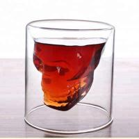 China Christmas shot double wall glass cup with fancy design on sale