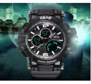 China SBAO Men Outdoor Dual Time Waterproof TPU Band Week date Alarm Display Chronograph Sport  Watch S-8007-1 wholesale