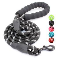 High Quality Thick Nylon Dog Leash Soft Leather Control Leash Reflective Mountain Climbing Rope for Small Medium Large D