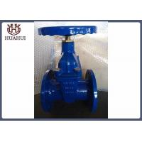 """China 4"""" Double Flanged Gate Valve With Brass Gland Handwheel Operated Blue Color wholesale"""