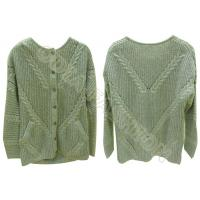 China Crew Neck Womens Cable Knit Sweater Button Up Cardigan Pocket Autumn Winter wholesale