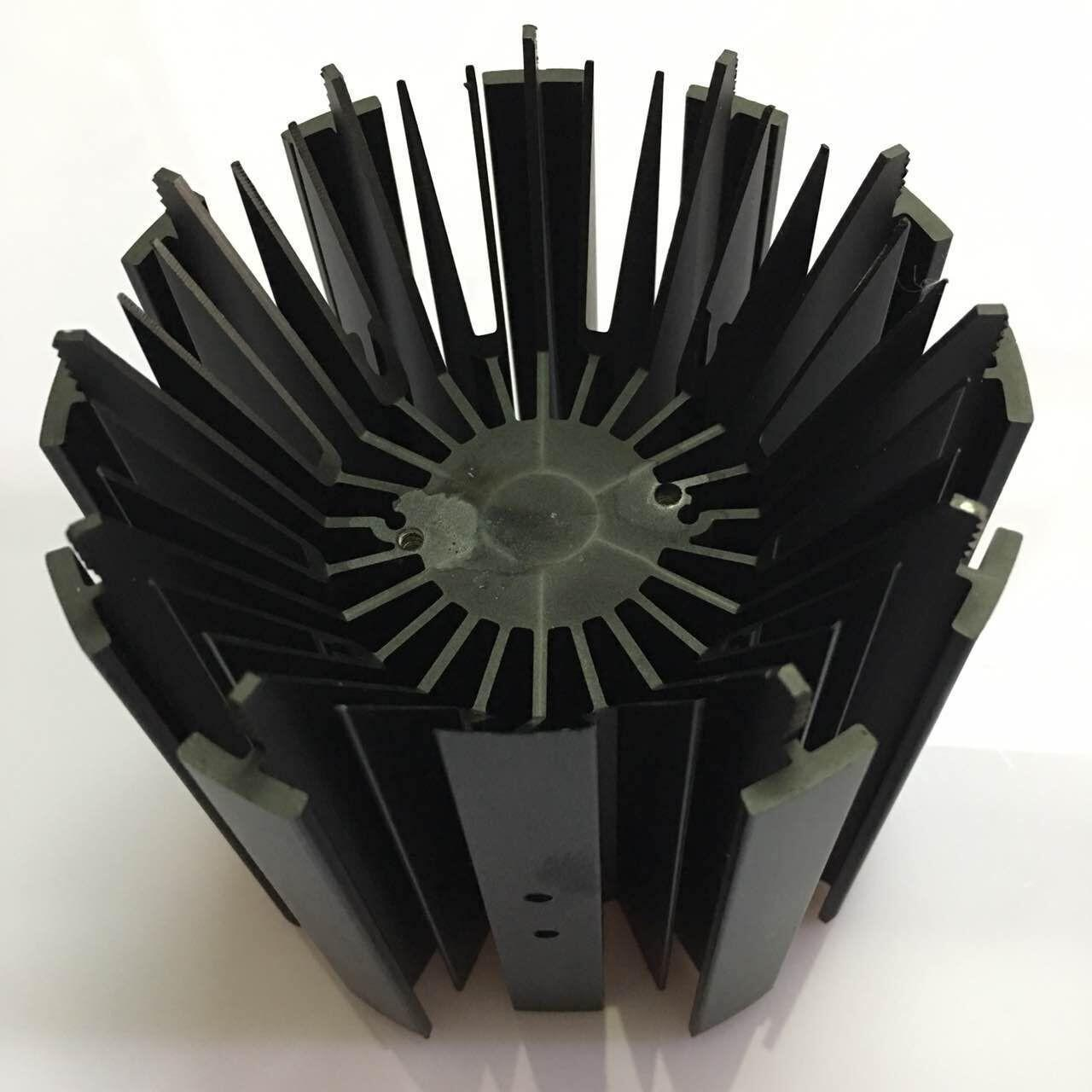 China CNC Machining LED Module Street Light Aluminum Heat Sink Profiles With Black Anodizing wholesale