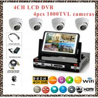 China LCD DVR 4CH HDMI 960H H.264 all in one D1 REAL TIME DVR kits with 4pcs CMOS1000TVL CCTV CAMERA CCTV SYSTEM DVR PACKAGE wholesale