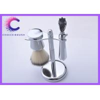 Quality Nice Work Chrome Steel Shaving Brush Set Holder Safety Synthetic Hair Mach 3 RAZOR for sale