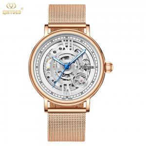 China KINYUED J069 skeleton  luxury leather waterproof quartz oem brand hands wristwatches custom logo wrist mens watch montre on sale