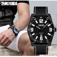 China Skmei New Fashion Large Dial Genuine leather strap Men Quartz Wrist Watches 9137 wholesale
