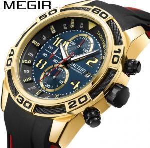 China MEGIR Men Fasion Casual Silicone Strap Chronograph Waterproof 30m Sport Watches Calendar Watches 2045G wholesale