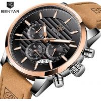 China Wholesale BENYAR Fashion Waterproof 30M Chronograph Luxury Men Casual Business Quartz Watch  Leather Strap BY-5104 wholesale