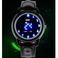 China Creative Water Resits 30M  Led Wrist Watch Leather Strap  With Compass 0921 wholesale