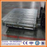 Wholesale Folding metal steel wire mesh pallet stillage cage from china suppliers