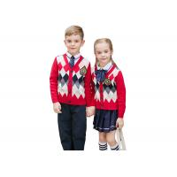 Buy cheap Embroidery Logo School Uniform Sweaters Red Navy Pure Cotton Argyle Pattern from wholesalers