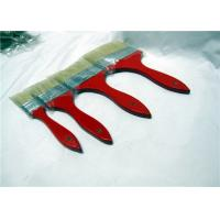 China White Flat Natural Bristle Paint Brushes With Shuttle Type Red Wooden Handle wholesale