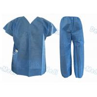 China Short Sleeve Disposable Protective Apparel Over Lock Sewing Scrub Suit With Pocket wholesale