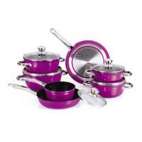 China Purple Forged Nonstick Pan Set , 10pcs Induction Cookware Set wholesale