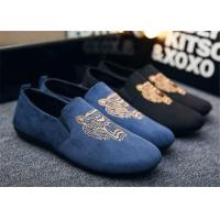 China Autumn Slip On Vintage Loafer Shoes Embroidered Men Dress Shoes Black Blue wholesale