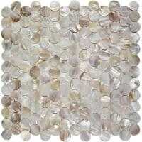China Round Mother Of Pearl Bathroom Tiles Fresh Water Seashell Decor 2mm Thickness on sale