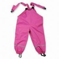 China Girl's Rain Pant, Made of PU Material, Available in Pink, with Reflective Tape wholesale