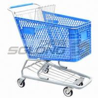Buy cheap 125mm Caster Supermarket Shopping Cart Plastic Grocery Carts 20Kg Unit Weight from wholesalers