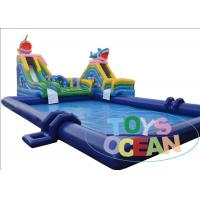 China Mini Inflatable Water Park , Double Inflatable Shark Water Slide With Big Water Pool wholesale