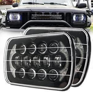 China 85W Rectangle Jeep Wrangler Yj Led Headlights , 5x7 Cree Led Headlights With DRL wholesale