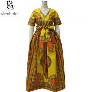 China Modern African Print Dresses Dashiki For Elegant V - Neck Classical Print Sleeveless wholesale