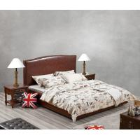 China Glassic design of Leisure Bedroom Furniture Upholstered Headboard Bed by True Leather with High density Sponge covered wholesale