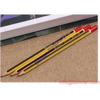China Hexagonal poplar wooden triangle HB pencils with strip and eraser wholesale