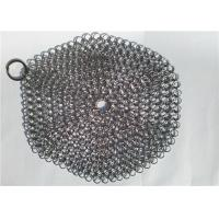 China 7 Inch Stainless Steel Chainmail Scrubber For Cookware Cleaning , Round Shape wholesale