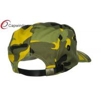 Quality Light Yellow 5 Panel Camouflage Camper Cap with Buckle Strap Closure for sale