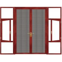 China Swing Ventilation Anodized Aluminium Casement Door Rosewood Grain wholesale