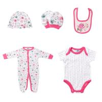 China 5PCS / Set Footed Rompers Baby 100 Cotton Baby Clothes Gift Set With Hat wholesale
