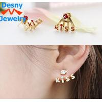 China Korean Style New Fashion KISS Letters Rhinestone Cute Stud Earrings 4 Color wholesale