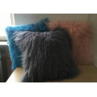 Quality Mongolian Lamb Fur Throw Pillow Dark grey Long Curly Sheep Fur Cushion Cover for sale