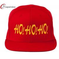 China Embroidered Flat Bill Cap Wool and Acrylic Red Christmas Letter Ho Ho Ho wholesale