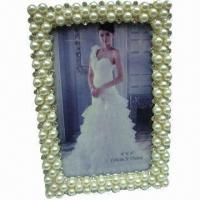 China Metal Photo Frame with Shinny Rhinestone and Fake Pearl, Picture Image Silver Frame for Wedding Gift wholesale
