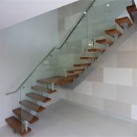 China indoor central beam straight stair with glass railing wholesale
