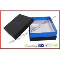 China Elegant Black gift box with top and base, customized logo with blister tray gift packing box wholesale