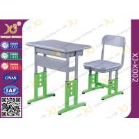 China Adjustable Metal Student School Table and Chairs With Skid Resistance Legs wholesale
