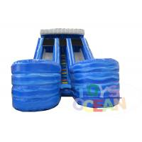 China Kids Triple 3 Lanes Inflatable Water Slide Outdoor Water Game With Pool wholesale