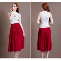 China Chic Two Piece White High collar lace ladies Suit Dresses Red tea length skirts wholesale