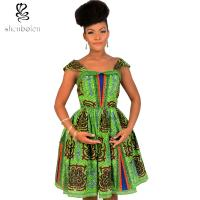 China Cute Sleeveless African Print Dresses Batik Printing 100% Cotton Ball Gown wholesale