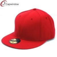 China Red Fitted Baseball Hats , Six Panel Pure Wool Sticker Visor Caps wholesale