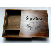 China Wedding Gift Slide Top Wooden Box , Pine Square Wooden Box With Lid wholesale