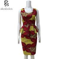 China One Piece Peplum Waist African Print Dresses Multi Color Customized Size wholesale