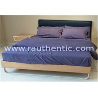 China Stable wood frame bed with Upholstered headboard and Wood slat wholesale