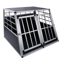 China XXL Double dog cage trapezoidal aluminium wood transport car travel carrier box  ZX104A on sale