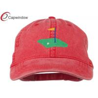 Quality Red Golf Flag on the Green Embroidered Washed Golf Baseball Hats for sale