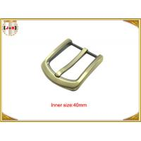 China Gold Custom Zinc Alloy Metal Belt Buckle 40mm With CNC Engraved Logo wholesale